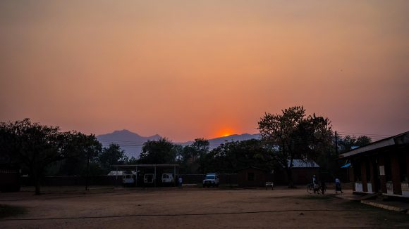 The sun sets over the mountains at Nsanje Hospital, Nsanje, Malawi