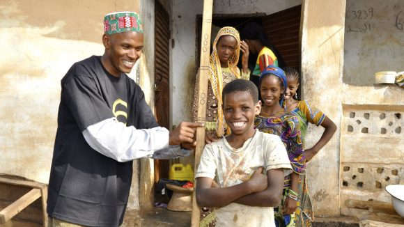 Villagers in Guinea involved in a project to eliminate onchocerciasis.