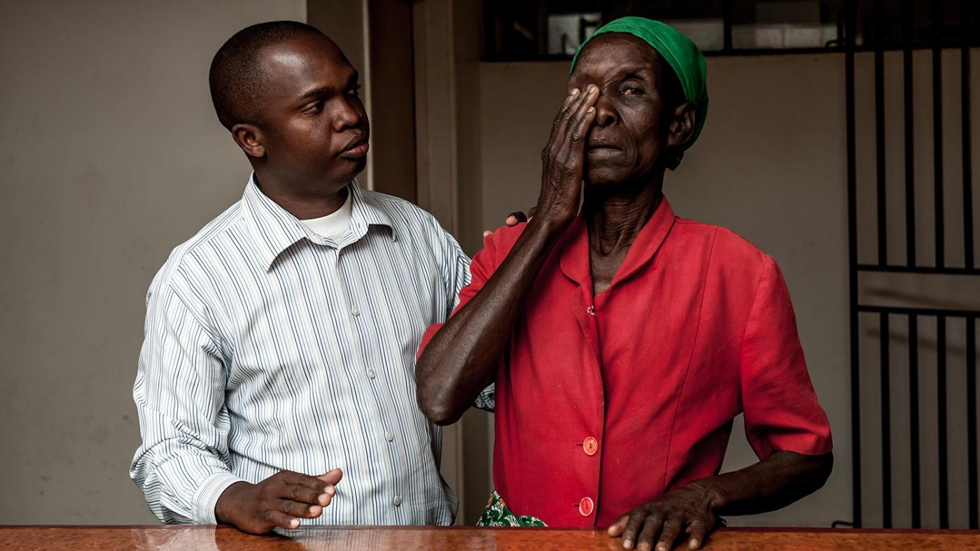 Nazondani Mologeni, 76, having had her bandage removed the day after her cataract operation.