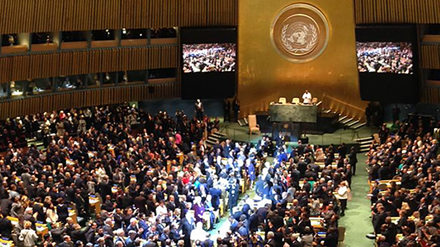 A crowded hall at the United Nations General Assembly.