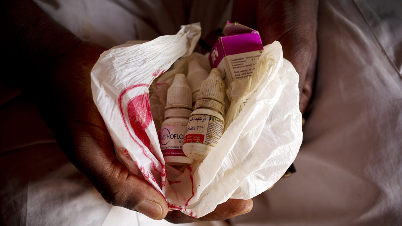 Some of the medicine bottles given to those suffering from trachoma.