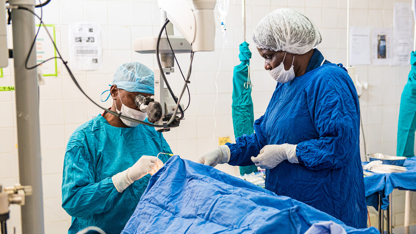 Dr Msukwa in theatre carrying out eye surgery.