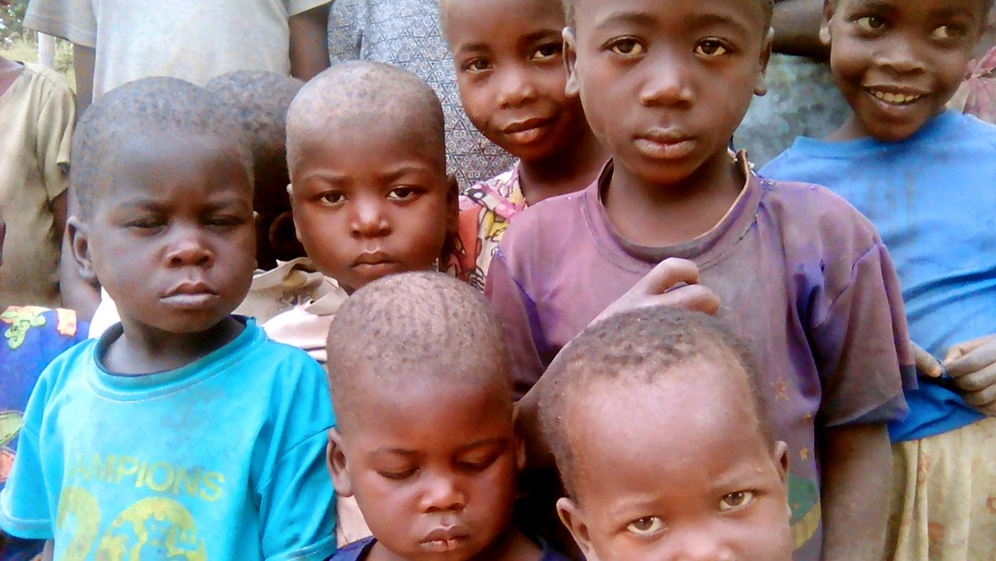 Zonobia and a group of other children in Zambia.