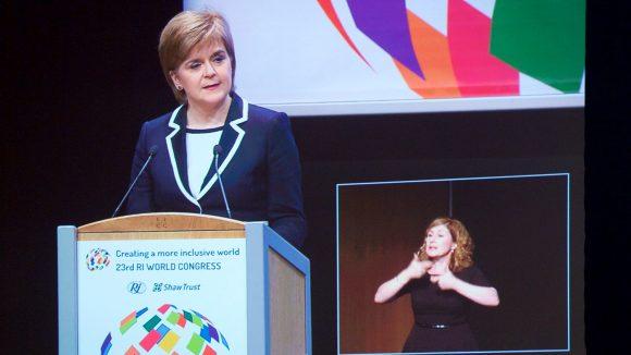 Nicola Sturgeon speaking on stage at the RI World Congress in Edinburgh.