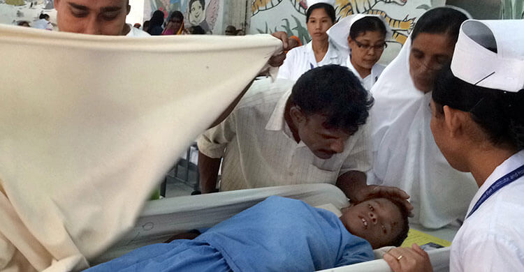 Majidul having a cateract operation in Bangladesh