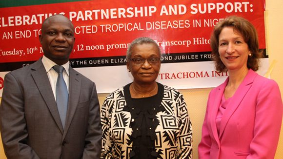 From right to left Dr Astrid Bonfield CBE (Chief Executive The Trust), Prof Eka Braide (Co-Chair Nigerian NTD Steering Committee also member of Sightsavers board of trustee) and Dr Sunday Isiyaku (Sightsavers Country Director) at the lunch meeting.