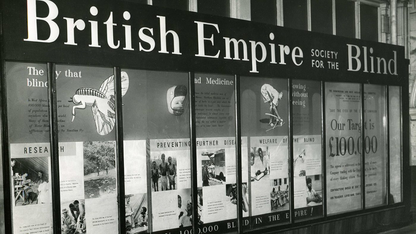 An exhibition of West African photos by Lady (then Mrs) Jean Wilson, London 1951 showing Sightsavers' original name, The British Empire Society for the Blind.