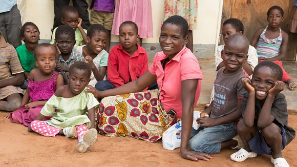 A group of smiling children in Malawi.