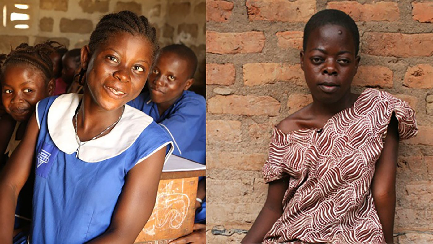 Jenneh smiles in the classroom during a lesson at school, while Nabirye looks sad as she stands outside her home.