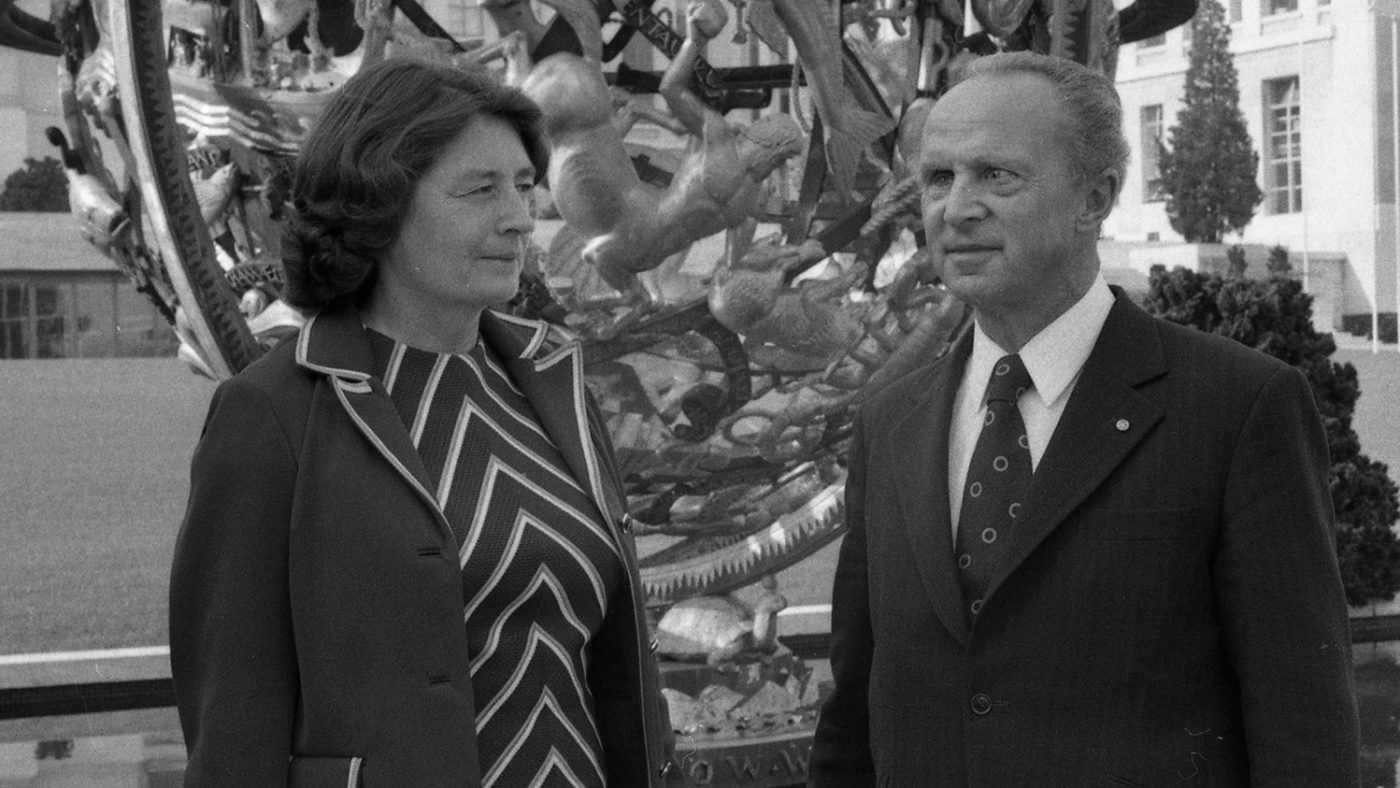 Sir John and Lady Jean Wilson in Geneva, 1976.