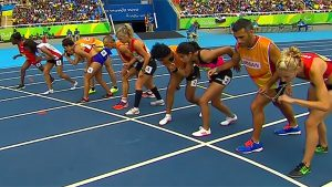 Taonere Banda and nine other competitors take their marks on the start line for the 1500m heat at the Paralympics in Rio.