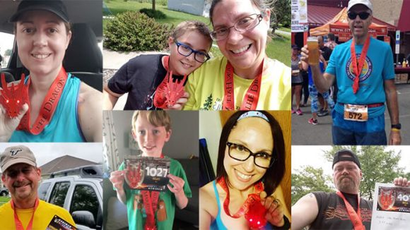 A montage of runners after they have finished a race.