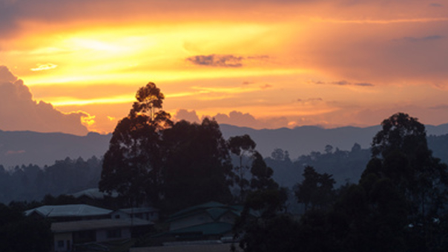 Sunset in Cameroon after the rainy season.