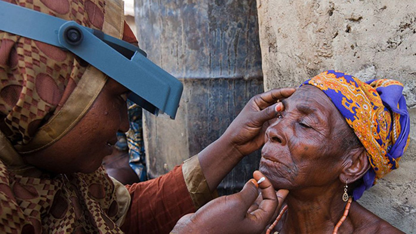 A woman being examined for trachoma, highlighting Towards 2020, the WHO action plan supporting trachoma elimination.