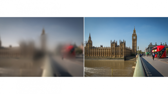Two images of london side by side, one blurred and one in clear resolution.