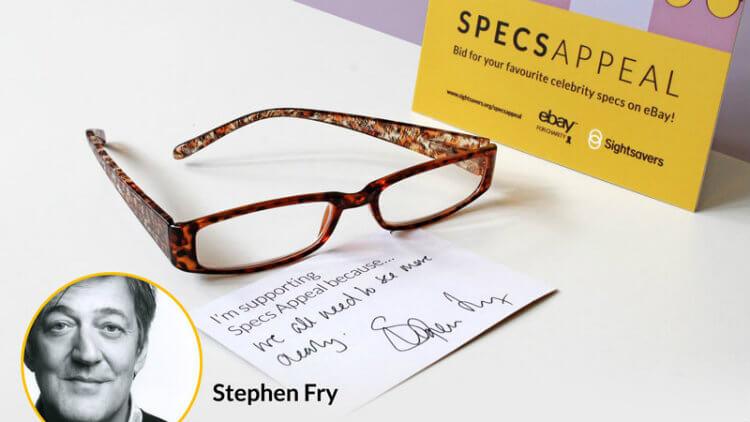 Celebrity Stephen Fry's glasses donation