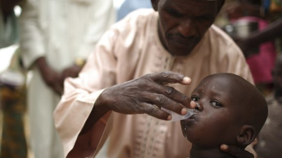 Drugs being distributed to locals in Nigeria