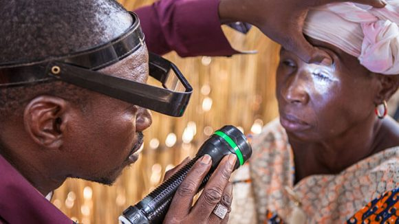 A woman is treated for trachoma