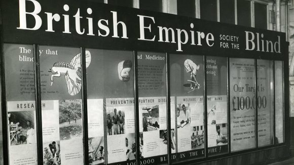 A photo exhibition from the 1950s showing Sightsavers' original name, the British Empire Society for the Blind.