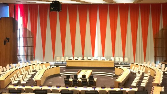 An empty debating chamber in the UN building in New York.