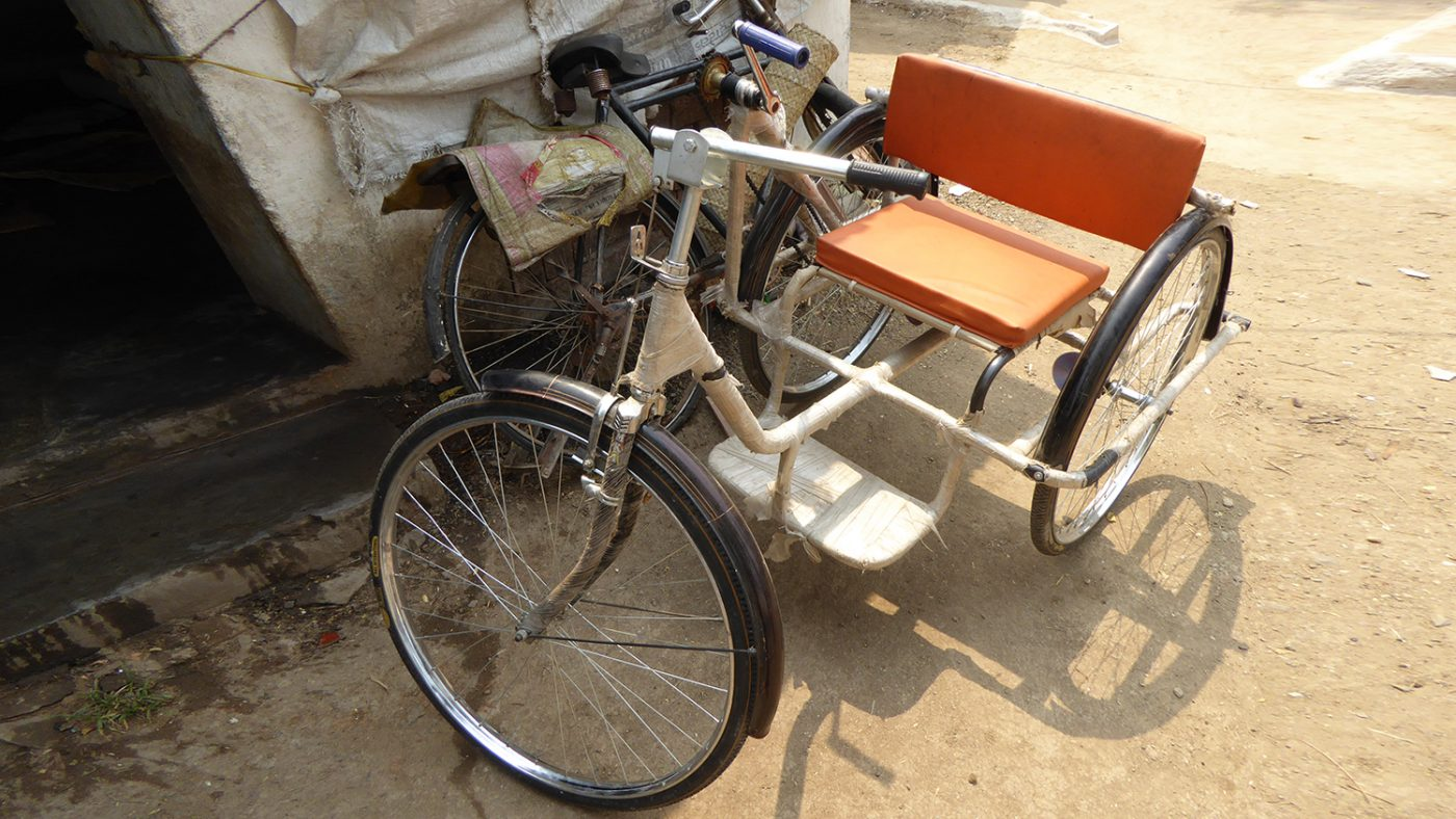 Amarchand's manually operated tricycle.
