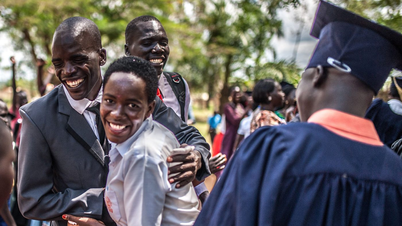 Simon Peter Otoyo with one of his graduating students at Amor Foundation Vocational Training School in Bweyale, Uganda.