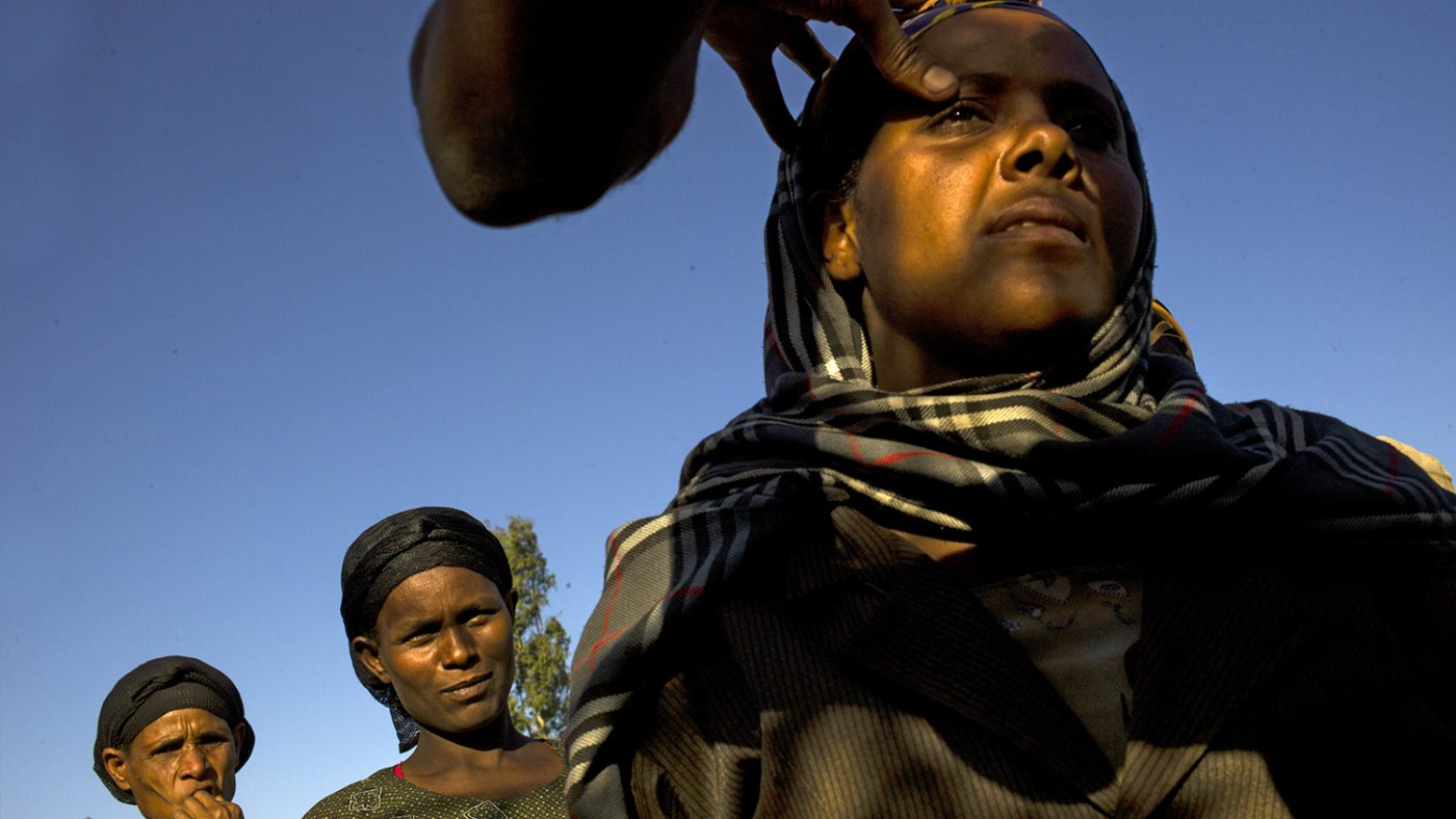 Women in Ethiopia line up to be screened for trachoma.
