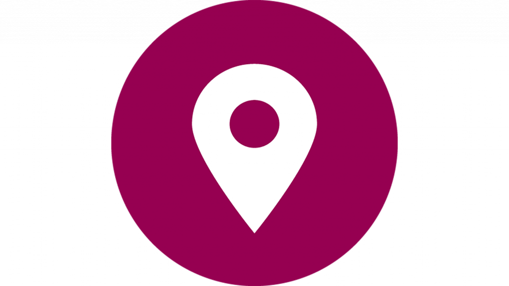 A circular icon showing a white 'location marker' on a purple background.