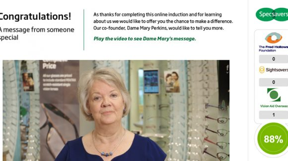 Screenshot of Specsavers' online induction