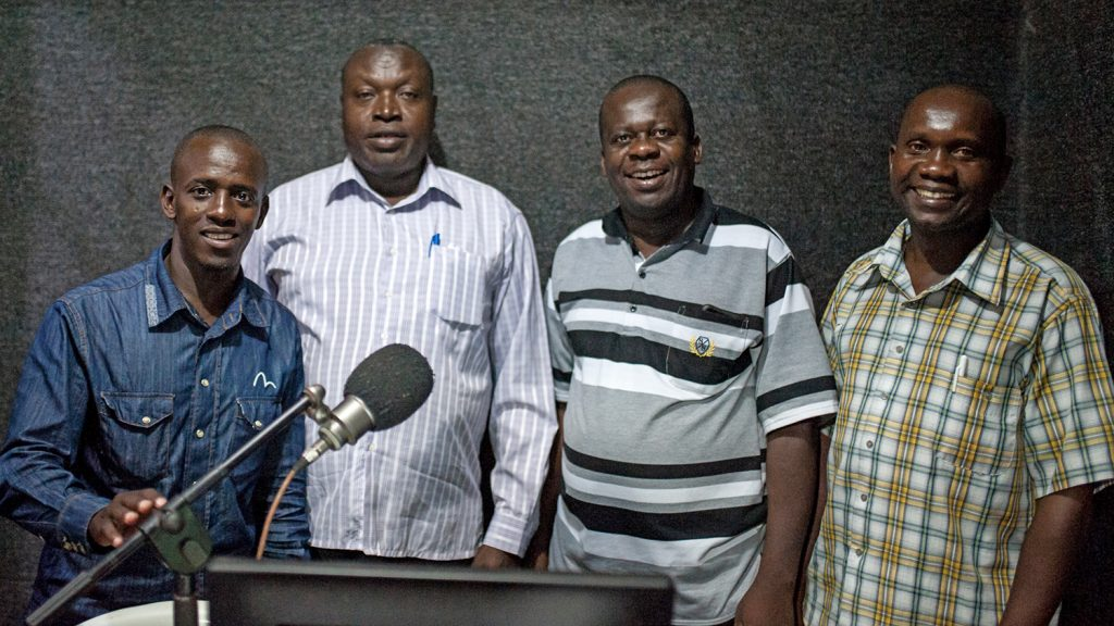 The radio talk show guests.