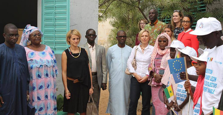 Representatives of the EU, UK and Netherlands embassies in Senegal with the school staff