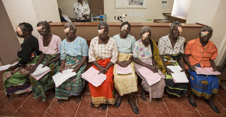 A group of ladies post-eye surgery