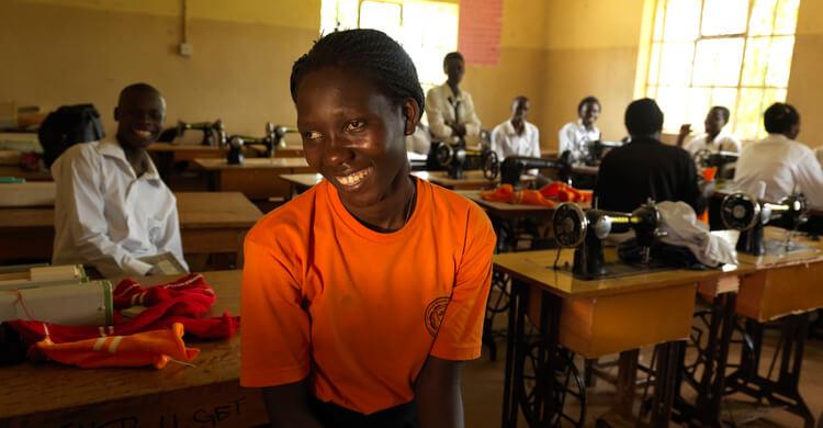A school girl smiling