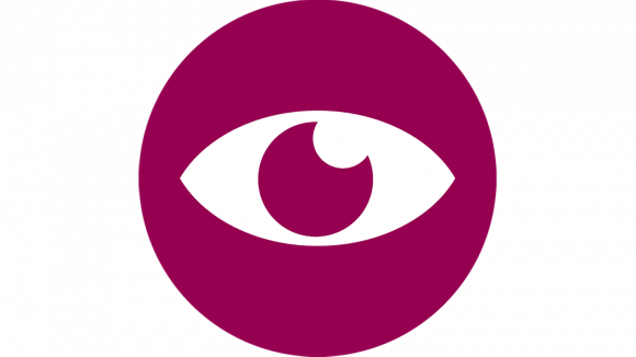 A circular purple icon featuring a white illustration of an eye.