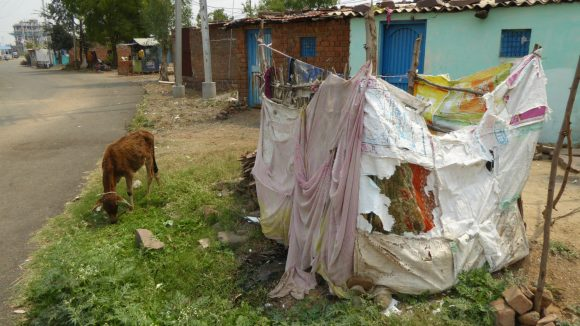 A slum area of Bhopal, India.
