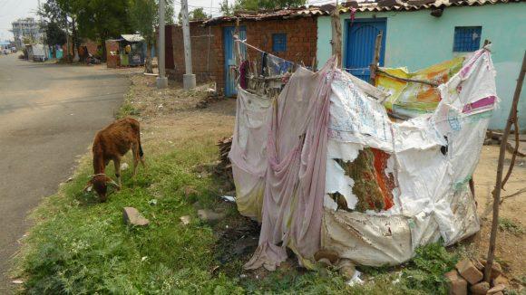 A slum area of Bhopal, India.