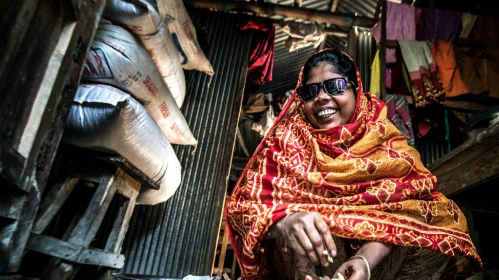 Jaharana prepares a meal.