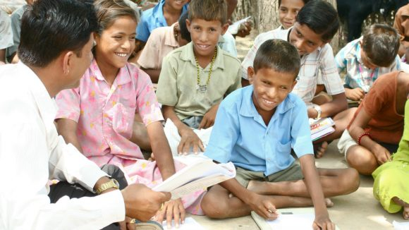 Devilal, who has had no proper vision since birth, attends school in Rajasthan.