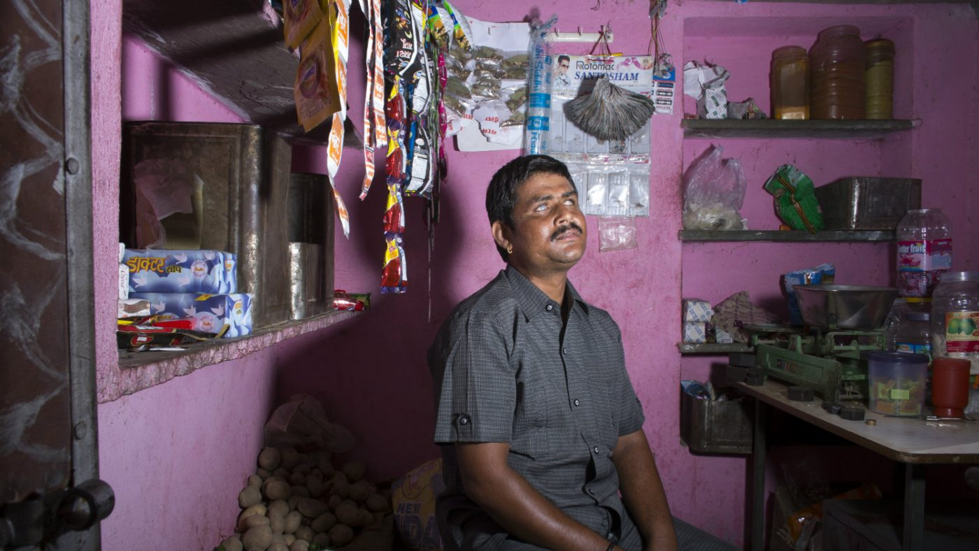 Sankarlal working in his shop.