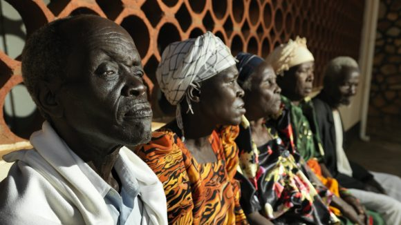 Patients waiting to attend a trachoma clinic.