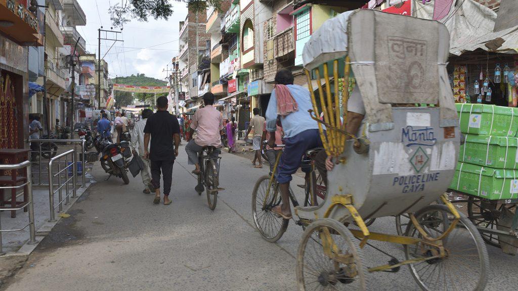 A bustling street in Bihar, India.