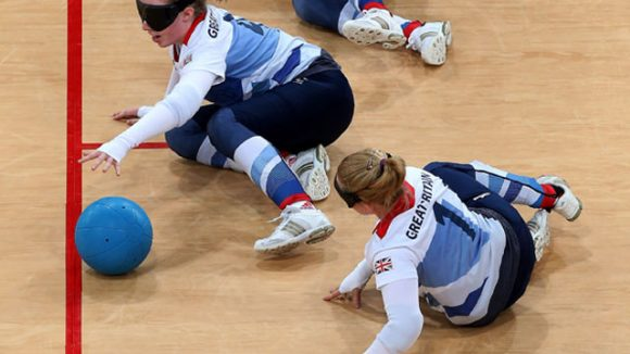 Team GB Paralympian female goalball players defending