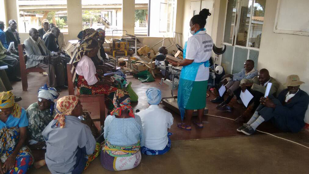 Patients waiting for surgery in a room in Malawi.