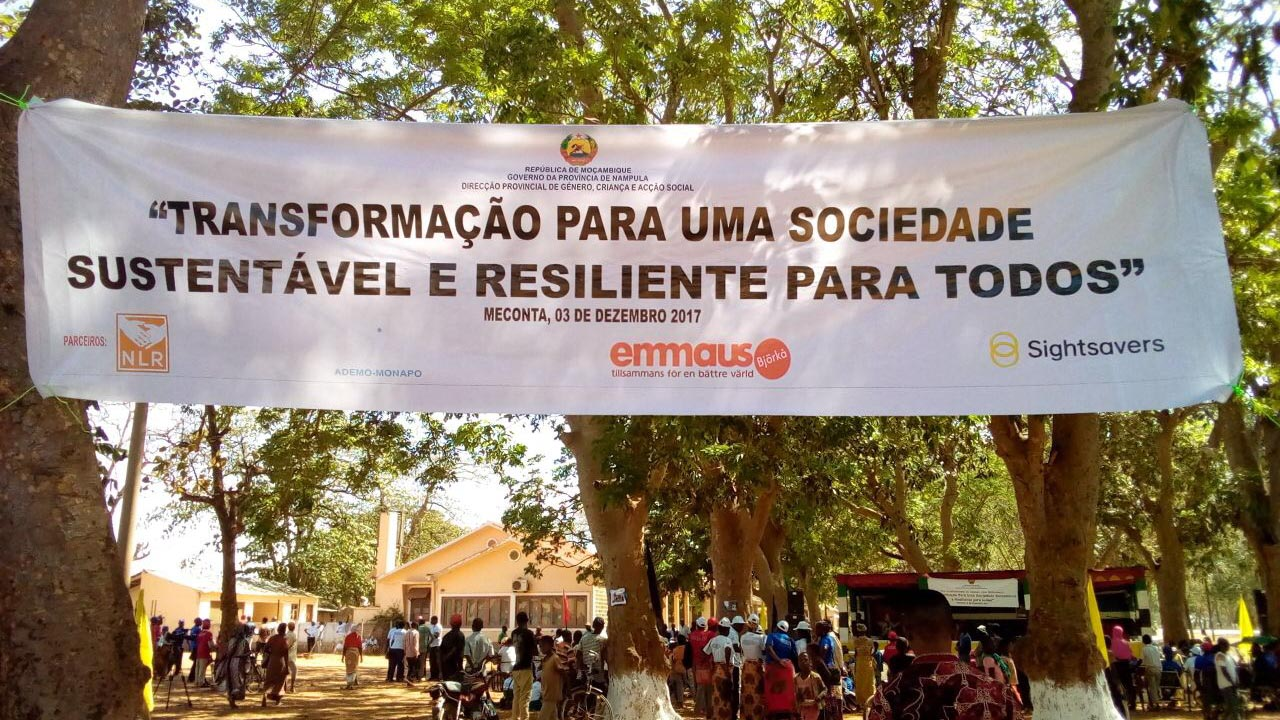 A banner which reads
