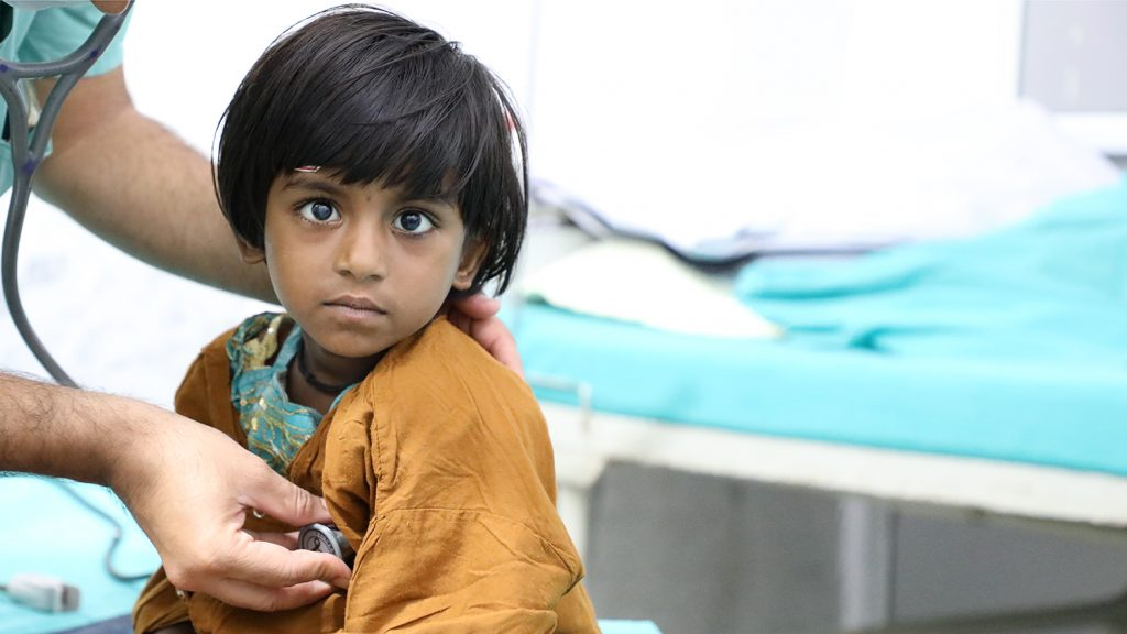 A young child has pre-surgery tests at the Swea Sadan Hospital in Bhopal.
