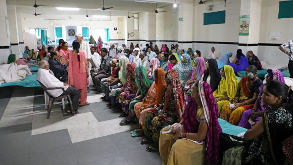 Patients wait for treatment at the Sewa Sadan hospital in Bhopal.