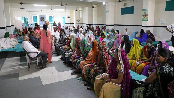 Patients wait for treatment at the Sewa Sadan hospital in Bhopal.