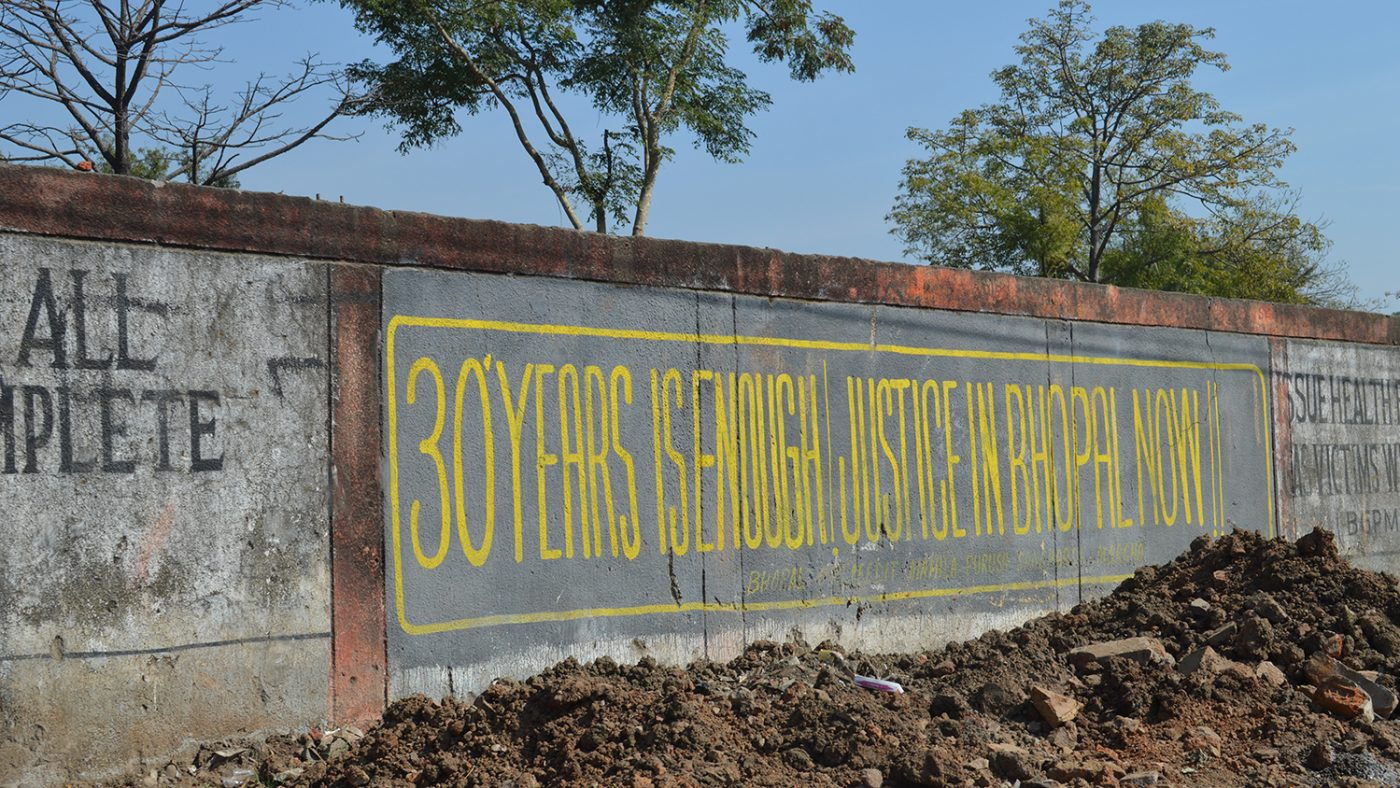 The walls of the Union Carbide pesticide factory in Bhopal, where an industrial disaster killed thousands in 1984. The mural on the wall reads: '30 years is enough: justice in Bhopal now'.