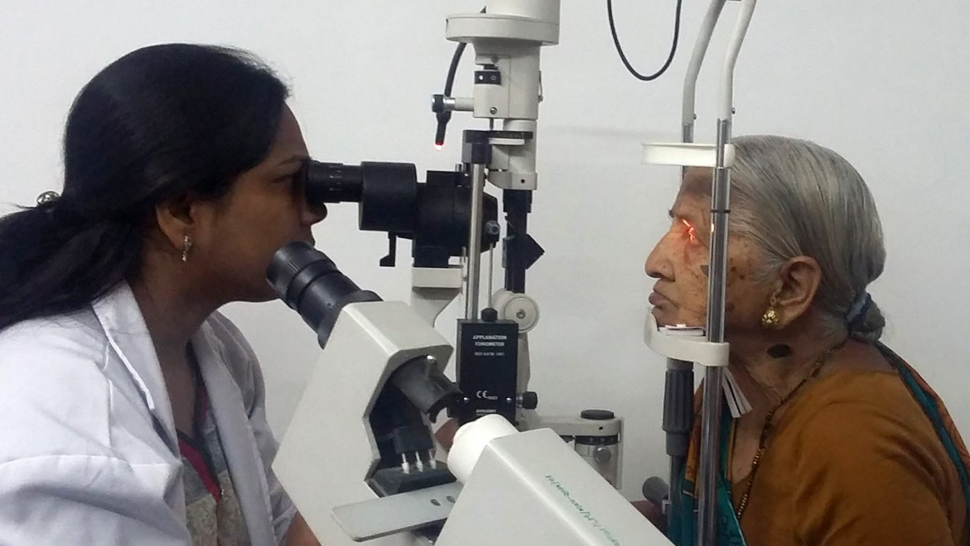 A woman has her eyes tested at a vision centre in Bhopal.