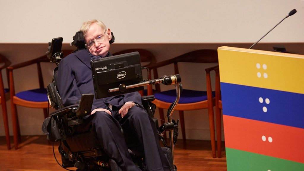 Professor Stephen Hawking at the Sightsavers celebration of a billion NTD treatments.